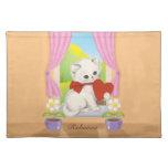 Cute kitten with love heart art place mats
