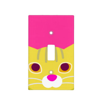 Cute Kitten - Yellow and Pink Switch Plate Cover