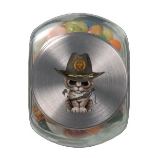Cute Kitten Zombie Hunter Jelly Belly Candy Jar