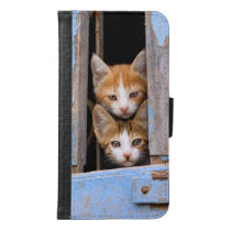 Cute Kittens Blue Vintage Window Animal Photo - Wallet Phone Case For Samsung Galaxy S6