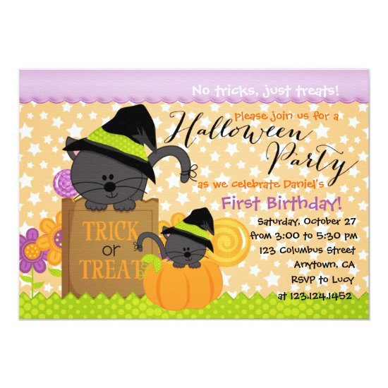 Cute Kittens Halloween Party Birthday for Kids Invitation