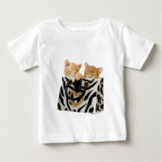 Cute Kittens in Zebra Print Handbag Baby T-Shirt