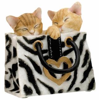 Cute Kittens in Zebra Print Handbag Keychain