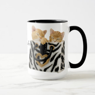 Cute Kittens in Zebra Print Handbag Mug