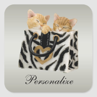 Cute Kittens in Zebra Print Handbag Stickers