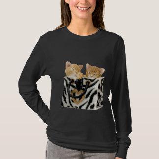 Cute Kittens in Zebra Print Handbag T-Shirt
