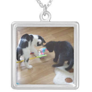 Cute Kittens Square Pendant Necklace
