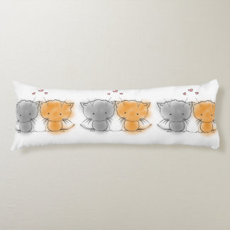 Cute Kittens Orange and Grey Illustration Body Pillow