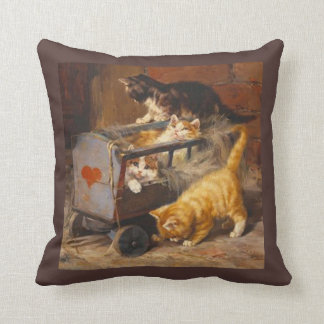 Cute Kittens Playing in a Cart, Vintage Art Pillow