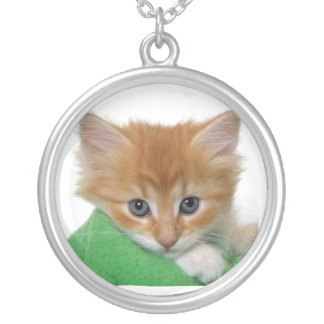 Cute Kittens Silver Plated Necklace