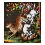 Cute Kittens With Mama Cat Poster