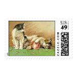 Cute Kittens with Yarn Knitting Postage Postage Stamps