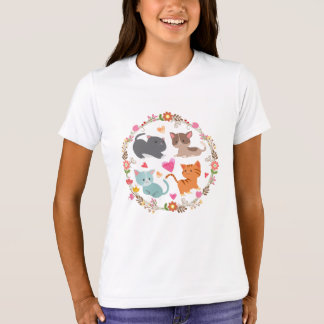 Cute Kitties in Flower Wreath Girls' T Shirts
