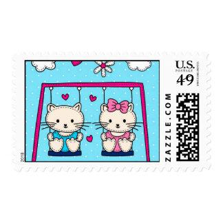 Cute Kitties On A Swing Postage Stamp
