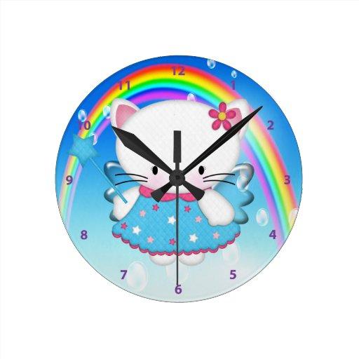 Cute Kitty Angel & Rainbow Clock