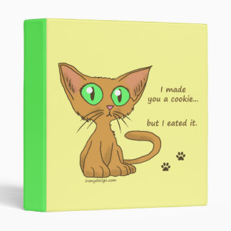 Cute Kitty Ate Your Cookie 3 Ring Binder