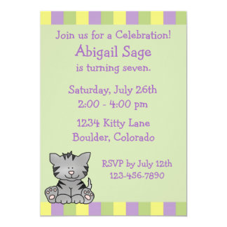 Cute Kitty Birthday Invitation
