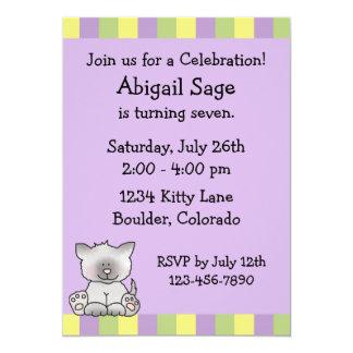 Cute Kitty Birthday Invitation for Girls