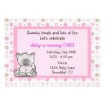 Cute Kitty Cat 1st Birthday Invitation for Girls