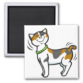 CUTE KITTY CAT 2 INCH SQUARE MAGNET