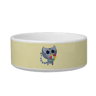 Cute Kitty Cat and flowers Bowl