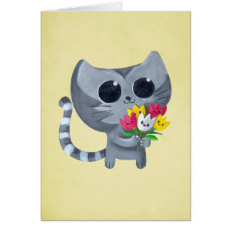 Cute Kitty Cat and flowers Card