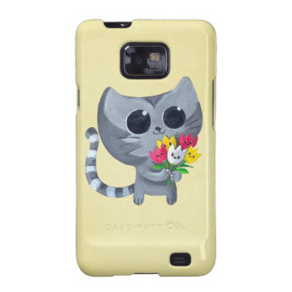 Cute Kitty Cat and flowers Samsung Galaxy S Covers