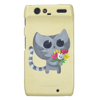 Cute Kitty Cat and flowers Droid RAZR Cover