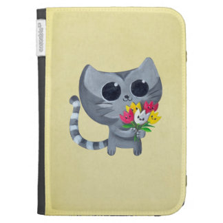 Cute Kitty Cat and flowers Kindle Folio Case