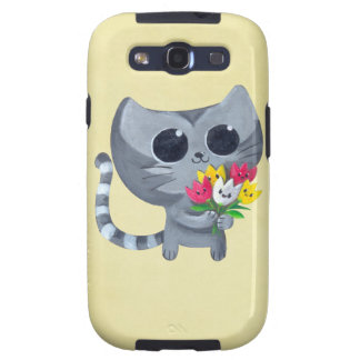 Cute Kitty Cat and flowers Samsung Galaxy S3 Cover