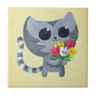 Cute Kitty Cat and flowers Ceramic Tiles