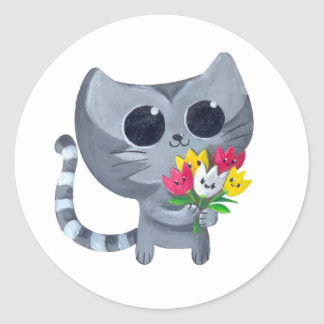 Cute Kitty Cat and flowers Classic Round Sticker