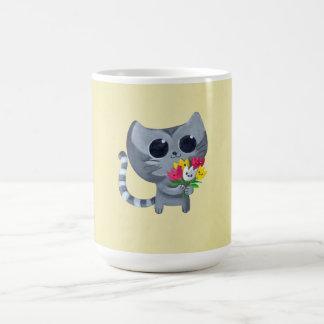Cute Kitty Cat and flowers Coffee Mug