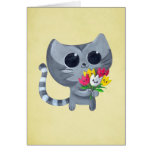 Cute Kitty Cat and flowers Greeting Cards