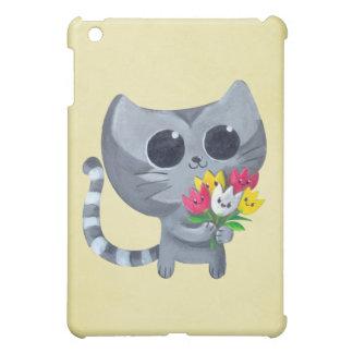Cute Kitty Cat and flowers iPad Mini Covers