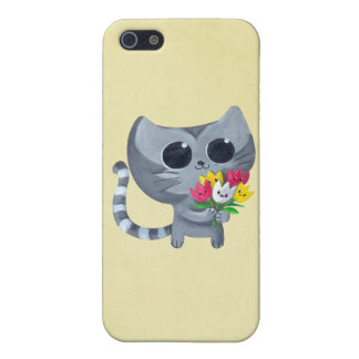 Cute Kitty Cat and flowers iPhone 5 Case