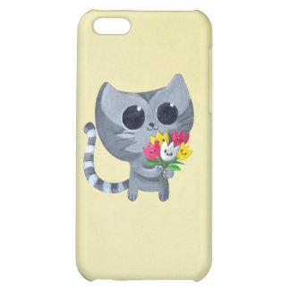 Cute Kitty Cat and flowers Cover For iPhone 5C