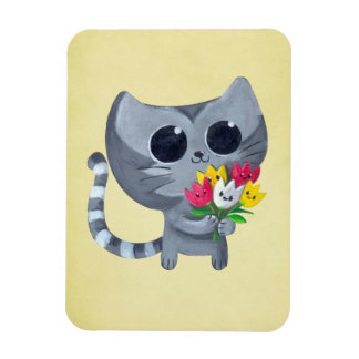 Cute Kitty Cat and flowers Magnet