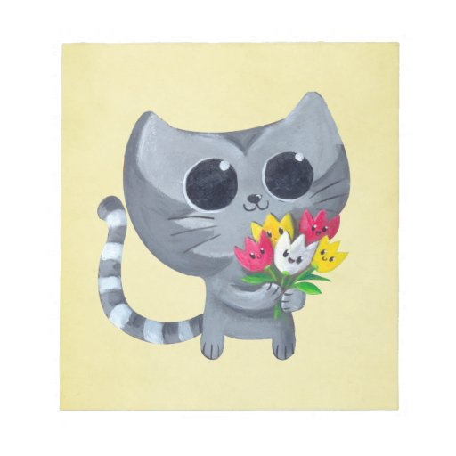 Cute Kitty Cat and flowers Memo Note Pads