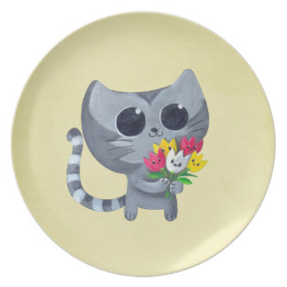 Cute Kitty Cat and flowers Party Plate
