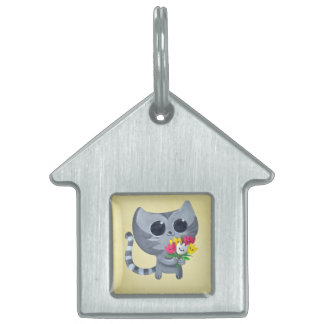 Cute Kitty Cat and flowers Pet ID Tags