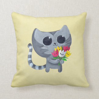 Cute Kitty Cat and flowers Pillow