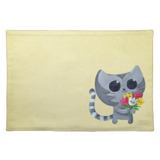 Cute Kitty Cat and flowers Place Mat