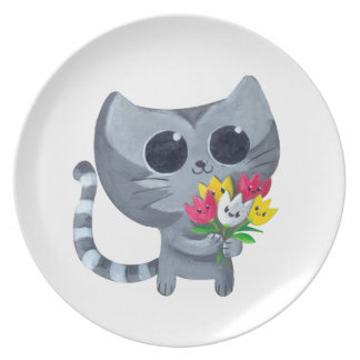 Cute Kitty Cat and flowers Dinner Plates