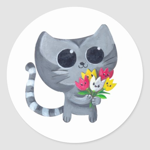 Cute Kitty Cat and flowers Round Sticker