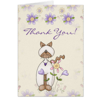 Cute Kitty Cat and Flowers Thank You Card