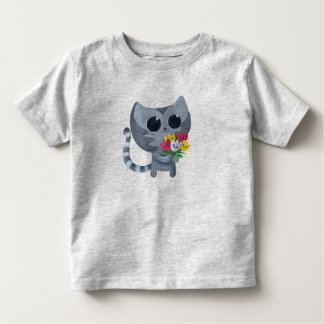 Cute Kitty Cat and flowers Toddler T-shirt