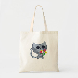 Cute Kitty Cat and flowers Tote Bag