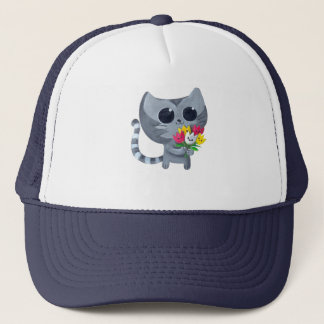 Cute Kitty Cat and flowers Trucker Hat