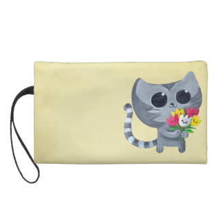 Cute Kitty Cat and flowers Wristlet Purse